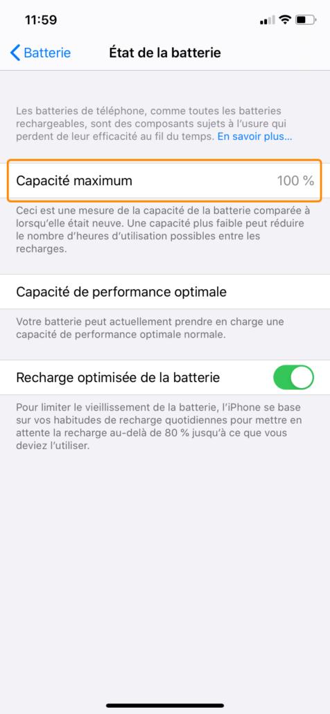 Etat de la batterie de votre iPhone