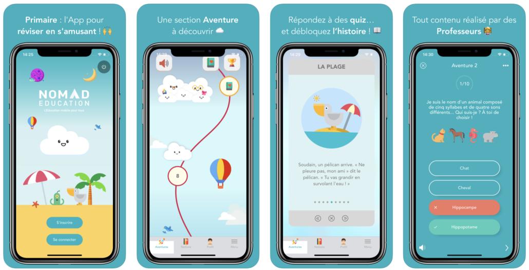 Interface application cahiers de vacances