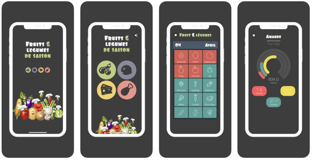 interface application fruits légumes saison